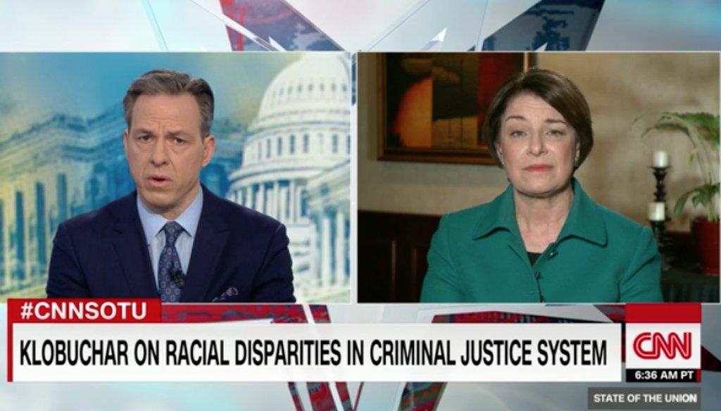 CNN's Jake Tapper interviewed Democratic presidential candidate Amy Klobuchar on March 17, 2019.
