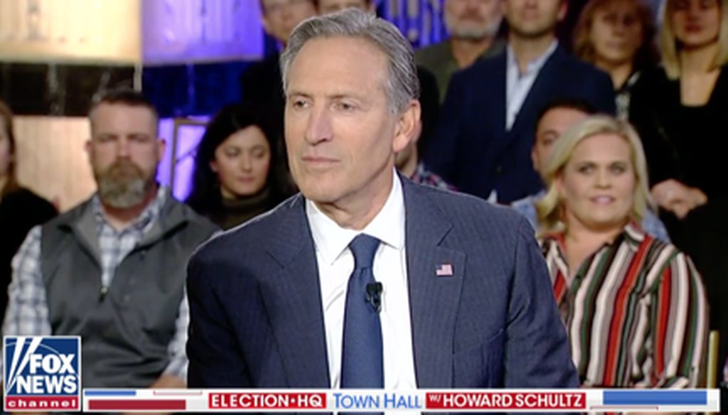 Starbucks founder Howard Schultz participated in a town hall on Fox News on April 4, 2019.