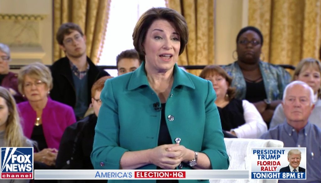 Democratic presidential candidate Amy Klobuchar takes part in a Fox News town hall on May 8, 2019. (Screenshot)