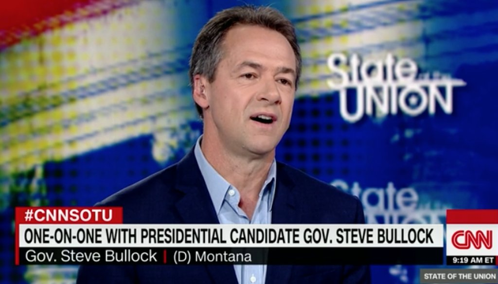"Democratic presidential candidate Steve Bullock appears on CNN's ""State of the Union"" on May 19, 2019. (Screenshot)"