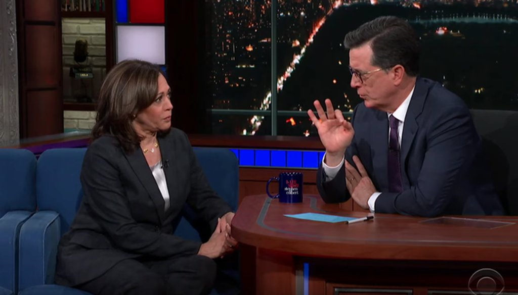 Democratic presidential candidate Kamala Harris appeared on the Late Show with Stephen Colbert on May 22, 2019. (Screenshot)