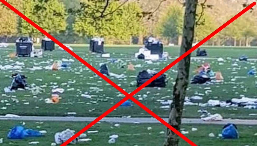 A photo shared on social media claims to show the aftermath of recent climate strike demonstrations, but the image is from another event celebrating 420 months earlier. We rate the claim False. (Screenshot from Facebook)