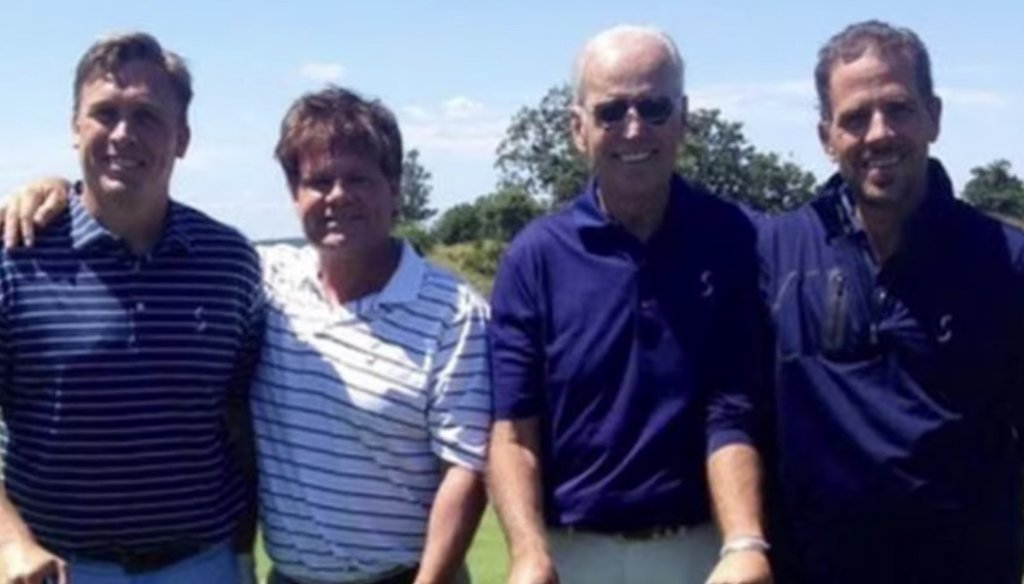 Devon Archer (far left) is pictured with Joe and Hunter Biden. (Screenshot from Twitter)