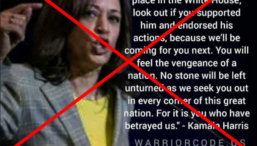 A fake quote from Sen. Kamala Harris, D-Calif., about coming after Donald Trump supporters has been shared without its satire label on Facebook. We rate it Pants on Fire! (Screenshot from Facebook)