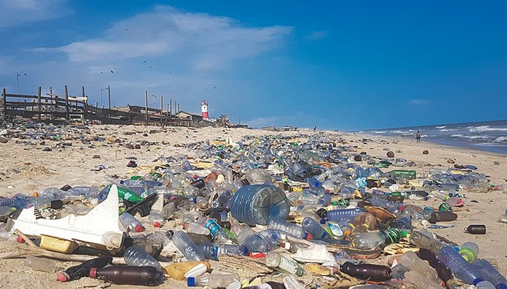 Plastic pollution covering a beach in Accra, Ghana, in 2018. (Wikimedia Commons)