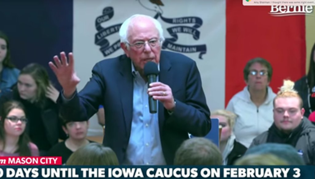 Bernie Sanders gives an hour-long speech in Mason City, Iowa, on Jan. 4, 2020. We broke down his speech here.