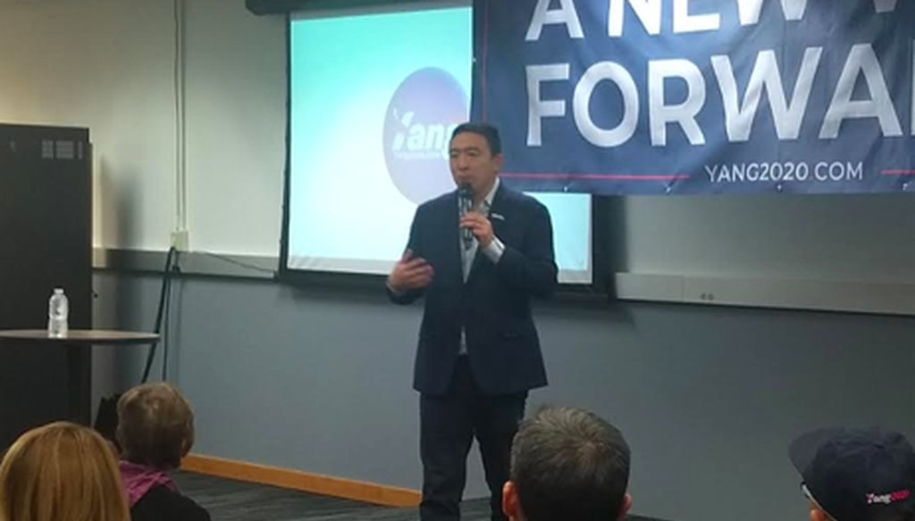 Andrew Yang speaks to supporters in Muscatine, Iowa. (Louis Jacobson/PolitiFact)