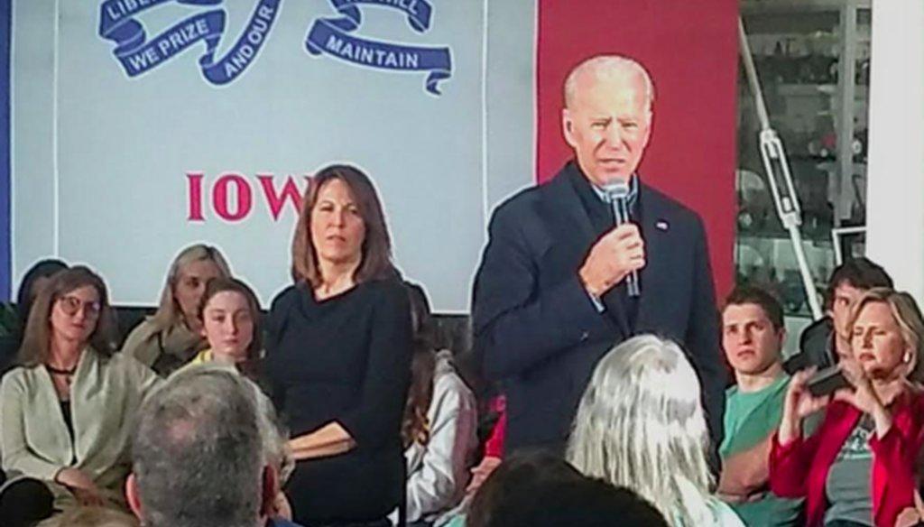 Joe Biden holds a campaign event in Ankeny, Iowa, on Jan 25, 2020. (Louis Jacobson/PolitiFact)