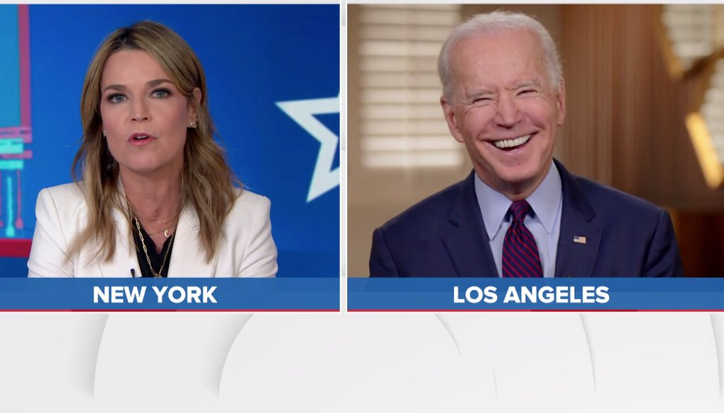 Democratic presidential candidate Joe Biden is interviewed by NBC's Savannah Guthrie on March 5, 2020.