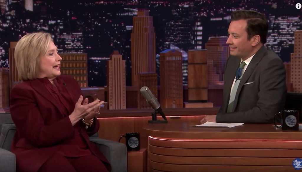 Hillary Clinton speaks with Jimmy Fallon during an appearance on The Tonight Show on March 6.
