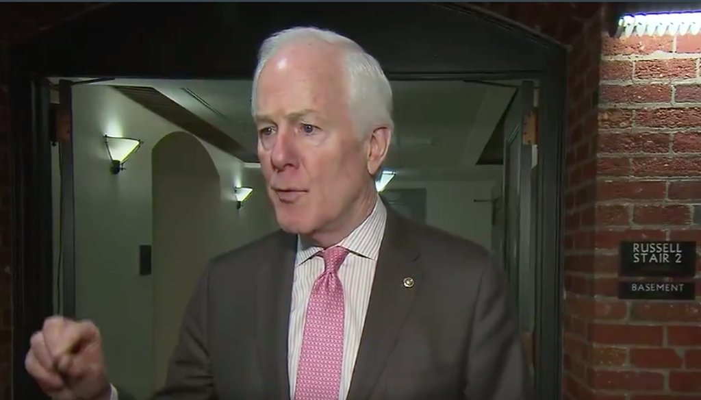 A still from a video of John Cornyn speaking with reporters, captured by The Hill.