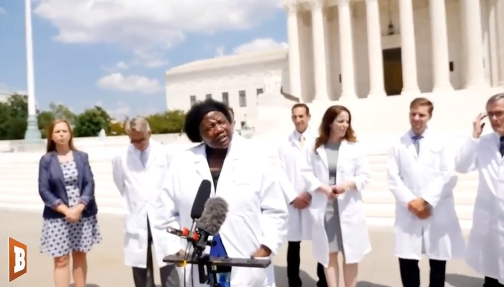 During a July 27, 2020, press conference, members of a group called America's Frontline Doctors floated several unproven conspiracy theories about the coronavirus pandemic. (Screenshot from Facebook)