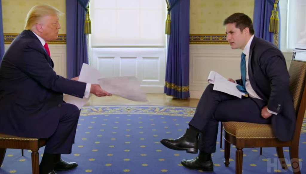President Donald Trump is interviewed July 28, 2020. (HBO/Axios)