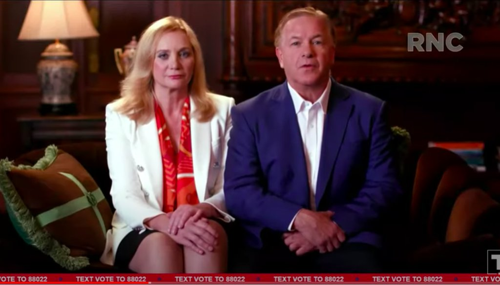 A screenshot of Patricia and Mark McCloskey speaking as part of the Republican National Convention, as it was streamed on President Donald Trump's YouTube channel.