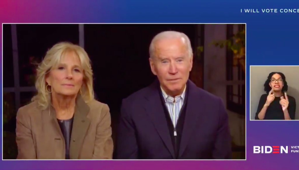 Democratic presidential nominee Joe Biden and his wife, Jill Biden, appear at a campaign concert and fundraising event Oct. 25, 2020. (Screenshot)