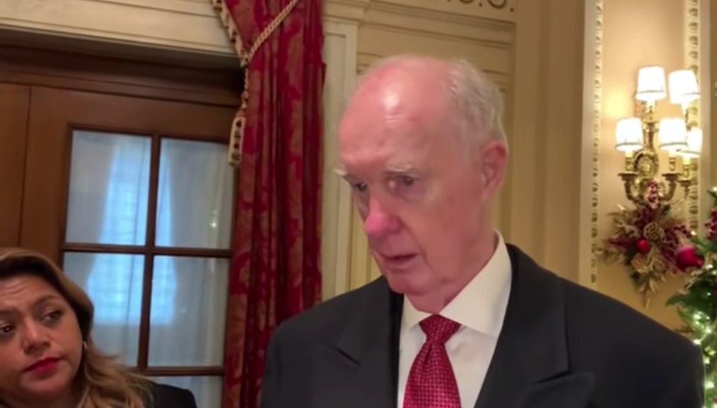 Former Lt. Gen. Thomas McInerney speaks during a video in which he makes a variety of false claims. (Screenshot from YouTube)