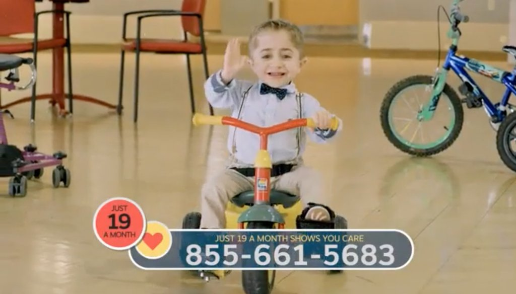 Kaleb-Wolf Torres in a Shriners fundraising commercial. Screenshot via YouTube.