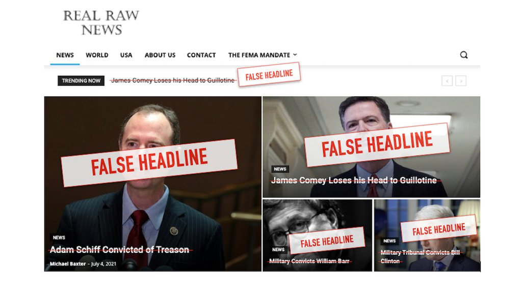 This illustration shows a screenshot of the homepage of Real Raw News as it appeared on July 12, 2021, with edits added to emphasize the false nature of the headlines.