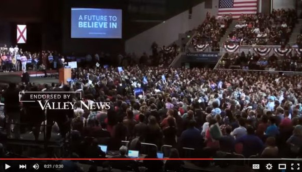"This is a screenshot of a portion of a Bernie Sanders ad that says the Valley News ""endorsed"" him."