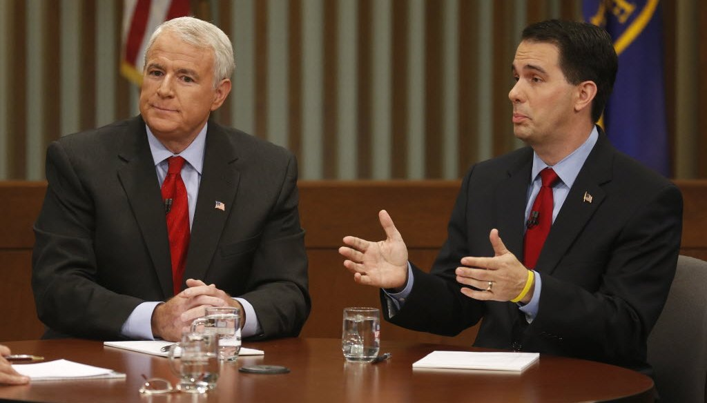 Democrat Tom Barrett is challenging Republican Gov. Scott Walker in the June 5, 2012 recall election. This photo is from their second and final debate.