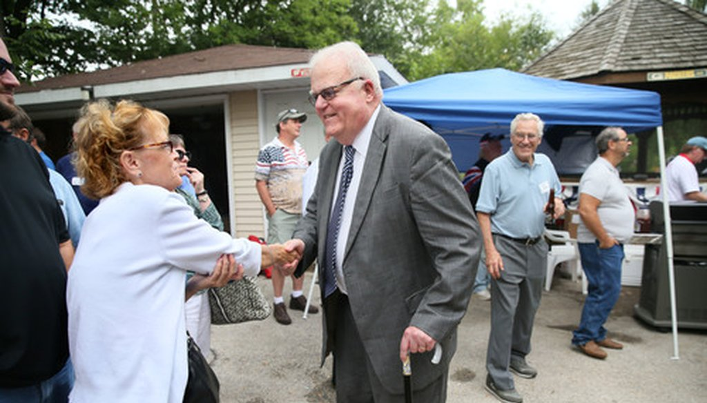 "U.S. Rep. Jim Sensenbrenner, R-Wis, of greets Jodie Mueller of Waukesha at picnic for Republican lawmakers and candidates called the ""Chicken Burn"" at the home of Bob and Jean Dohnal Aug. 27, 2017. (Michael Sears/Milwaukee Journal Sentinel)."