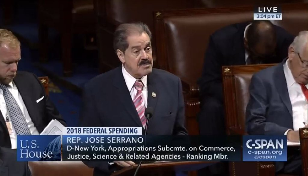 Rep. José Serrano claimed Republicans in Congress are proposing legislation to restore gun rights for felons. (Screenshot from C-SPAN video)