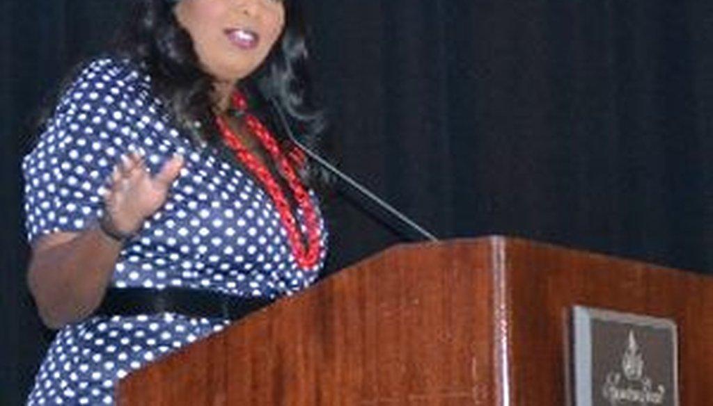 Broward Mayor Barbara Sharief addresses the crowd at a Broward Workshop event prior to a speech by former Gov. Jeb Bush.