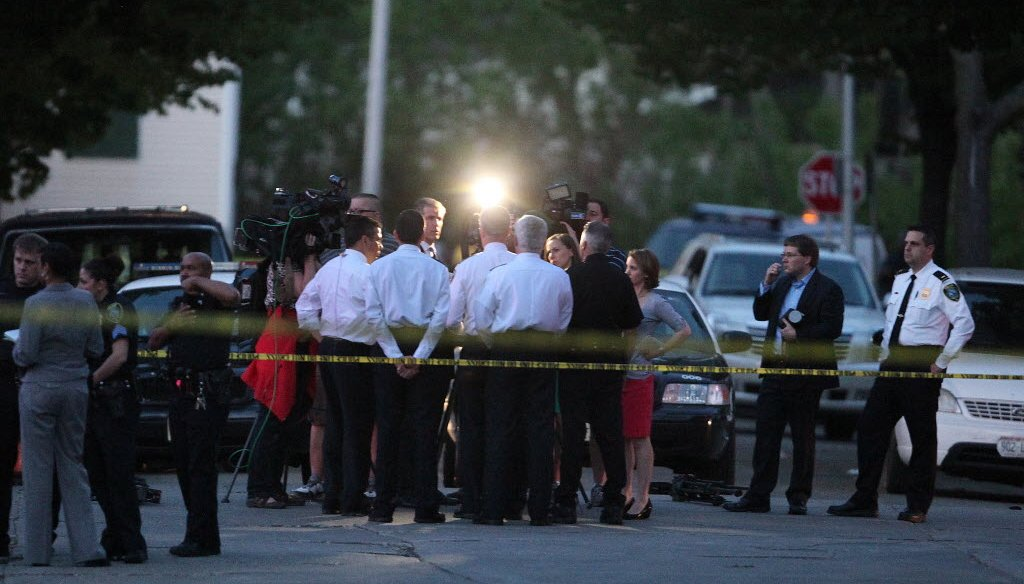Reporters question Milwaukee Police Chief Edward Flynn about 10-year-old Sierra Guyton, who was shot while playing on a playground on May 21, 2014. Wounded in a crossfire between two men, the girl later died.