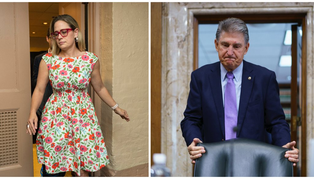 Sens. Kyrsten Sinema, D-Ariz., and Joe Manchin, D-W.Va., have positioned themselves as pivotal votes in the Democrats' efforts to pass key legislation. (AP/Manuel Balce Ceneta/J. Scott Applewhite)