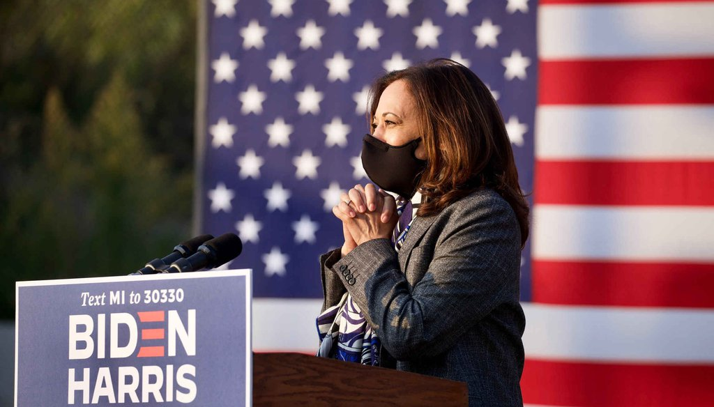 Democratic vice presidential candidate Kamala Harris speaks at a campaign event at the Detroit Pistons Performance Center in Detroit, Tuesday, Sept. 22, 2020. (Junfu Han, Detroit Free Press)