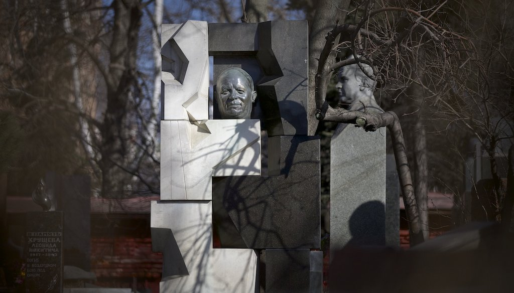 The monument to the former Soviet leader Nikita Khrushchev near his grave is created by Ernst Neizvestny at the Novodevichy cemetery in Moscow, Russia, Friday, March 14, 2014. (AP)