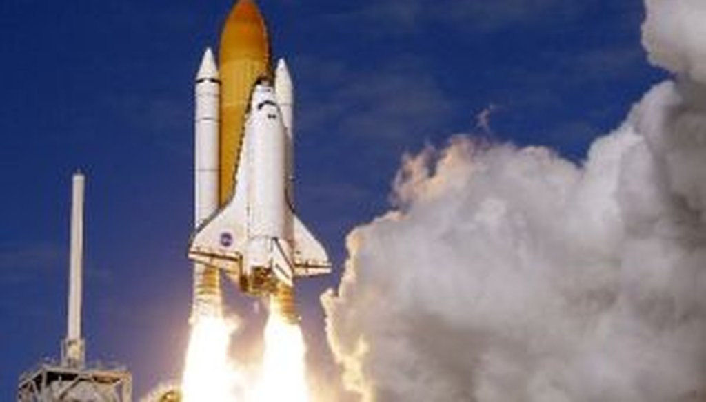 The space shuttle Atlantis lifts off on Nov. 16, 2009, from Kennedy Space Center in Florida. We looked into a chain e-mail's claim that President Barack Obama is to blame for the nation's inability to send astronauts into space.