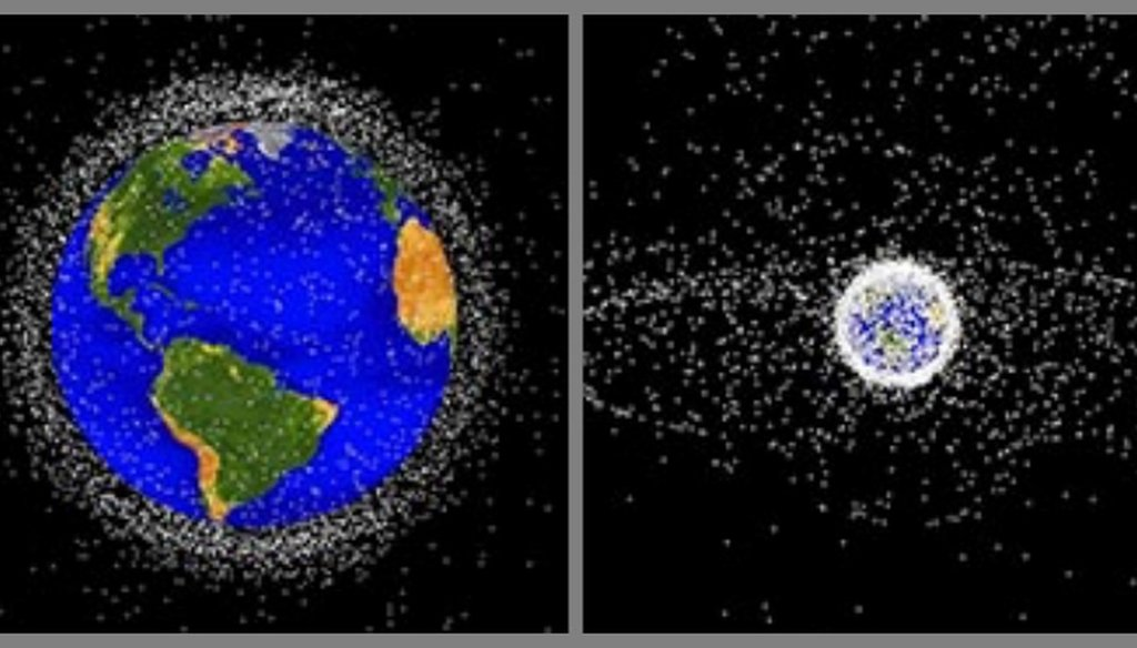 On the left, NASA graphic of space junk in low Earth orbit. On the right, the view from further out. (NASA ODPO)