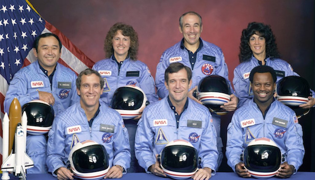 The Challenger Space Shuttle crew, who were killed during launch on Jan. 28, 1986. From front left: Michael J. Smith, Francis R. Scobee and Ronald E. McNair. Rear left: Ellison Onizuka, Christa McAuliffe, Gregory Jarvis, and Judith Resnik. (NASA via AP)
