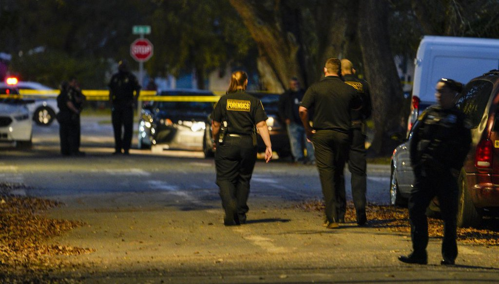 The scene of a deadly shooting in St. Petersburg, Fla., where three people were found dead. (Tampa Bay Times/Martha Asencio Rhine)