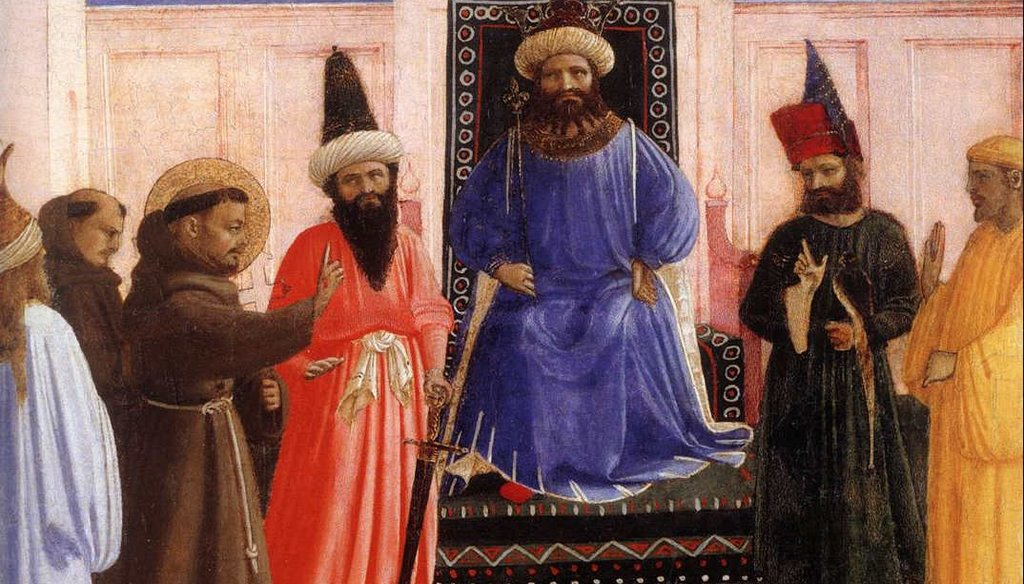 St. Francis of Assisi meets with Sultan al-Kamil in 1219. (Fra Agelico via wikiArt)
