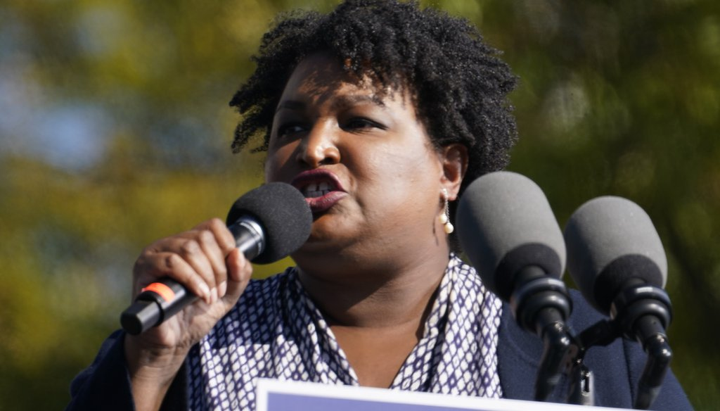 Stacey Abrams speaks to Biden supporters as they wait for former President Barack Obama to arrive and speak at a rally as he campaigns for Democratic presidential candidate former Vice President Joe Biden, Nov. 2, 2020, at Turner Field in Atlanta. (AP)