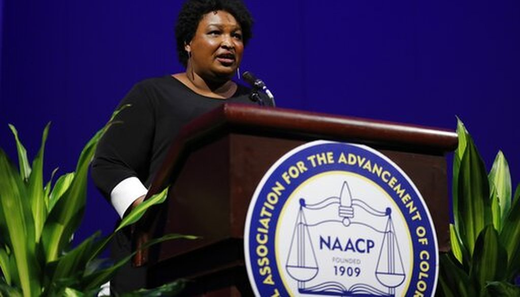 Former Georgia House Minority Leader Stacey Abrams addresses the 110th NAACP National Convention, Monday, July 22, 2019, in Detroit. (AP)