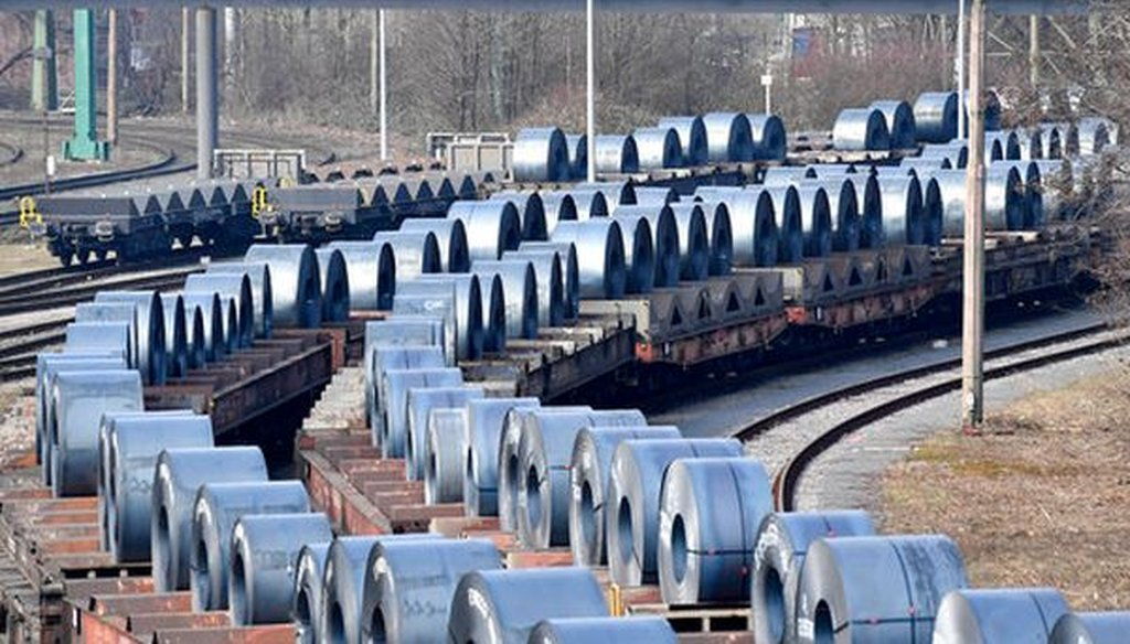 Steel coils sit on wagons when leaving a steel factory in Germany on March 2, 2018, as the U.S. was considering tariffs on steel and aluminum imports. (AP/Martin Meissner)
