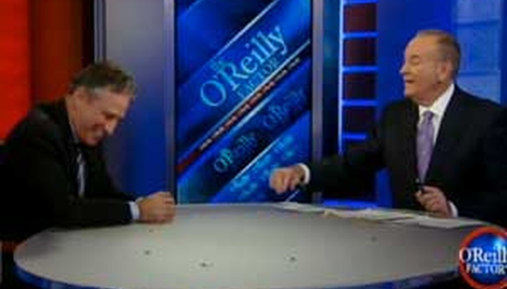 "Bill O'Reilly told Jon Stewart that the Daily Show audience is ""primarily stoner slackers who love Obama."""