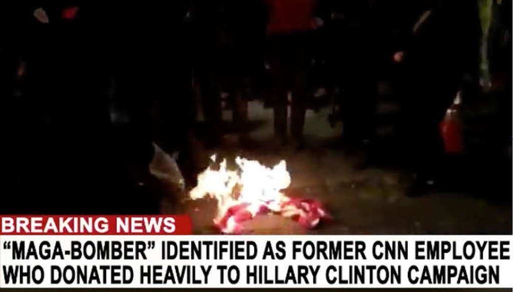 A conspiracy website advanced the false story of Democratic and CNN ties to the pipe bombs sent in the mail. (Screenshot)