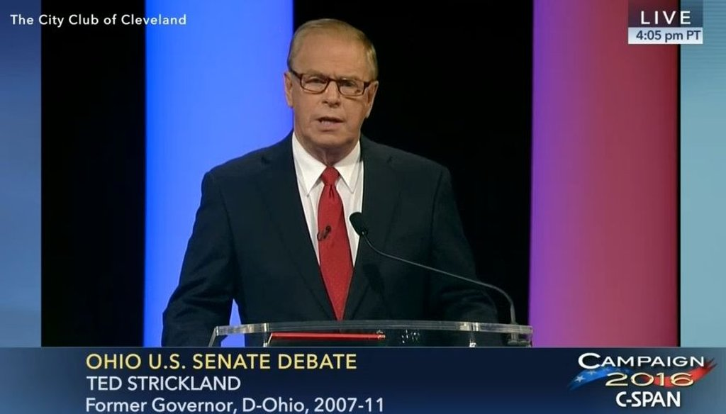 Ted Strickland, a Democratic candidate for the U.S. Senate in Ohio, debated his opponent Rob Portman, the Republican incumbent, at the City Club in Cleveland.
