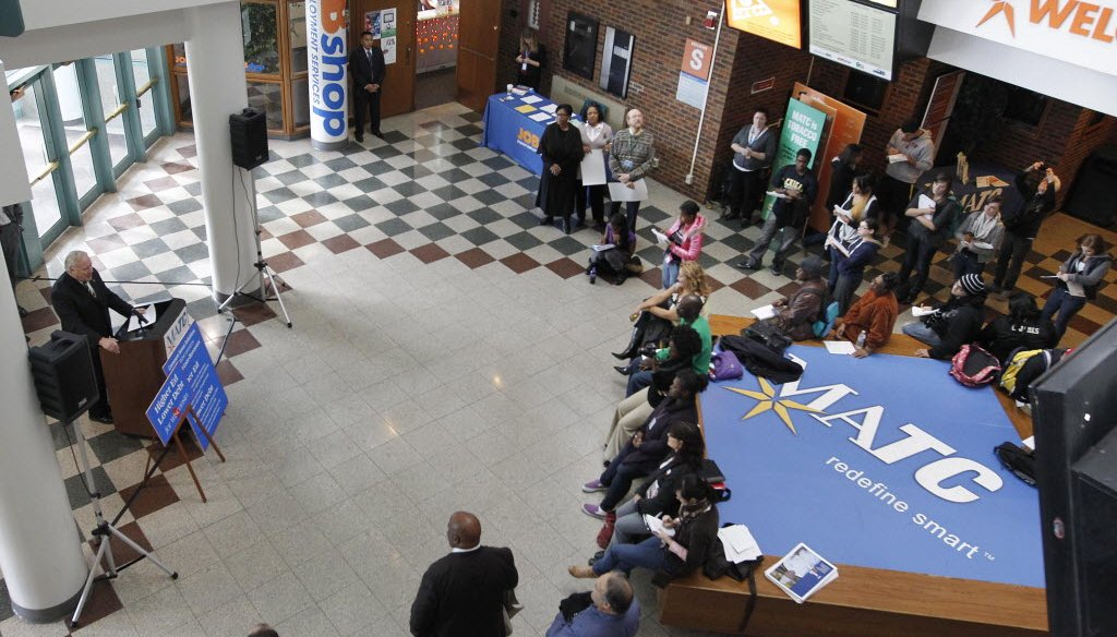 Democratic state lawmakers held a news conference at Milwaukee Area Technical College on Oct. 23, 2013, to announce a proposal to help Wisconsinites refinance their student loan debt.