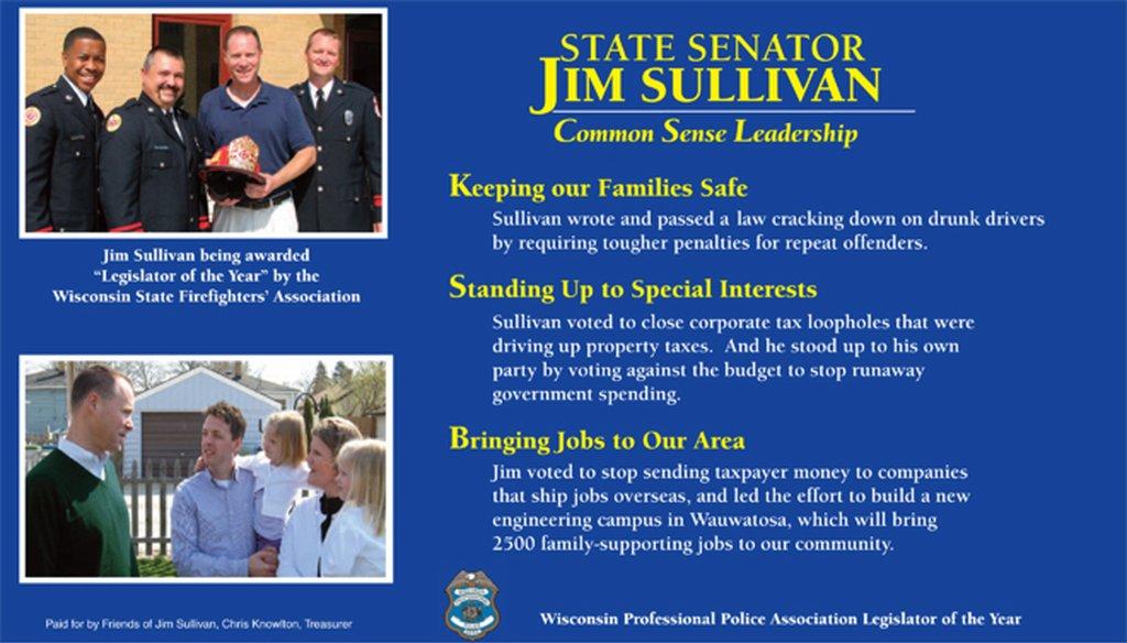 Campaign literature distributed by Jim Sullivan for state Senate campaign in race against Republican Leah Vukmir