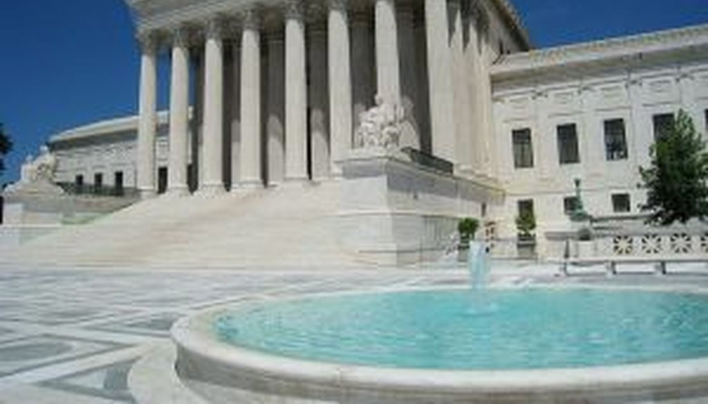 The front facade and plaza of the Supreme Court.