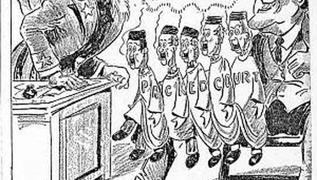 A 1937 cartoon from the Waterbury (Conn.) Republican mocks President Franklin Roosevelt's court-packing plan.