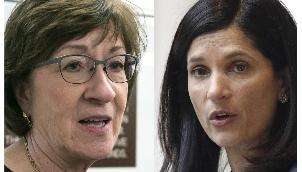In a race in Maine that's rated a tossup and could help determine which party controls the U.S. Senate, Republican incumbent Susan Collins (left) is being challenged by Democrat Sara Gideon. (AP)