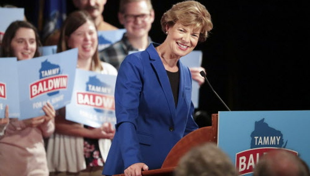 Incumbent U.S. Sen. Tammy Baldwin Baldwin secured a second term winning 55 percent of the vote, with 45 percent for challenger Leah Vukmir. (Wisconsin State Journal/Associated Press).
