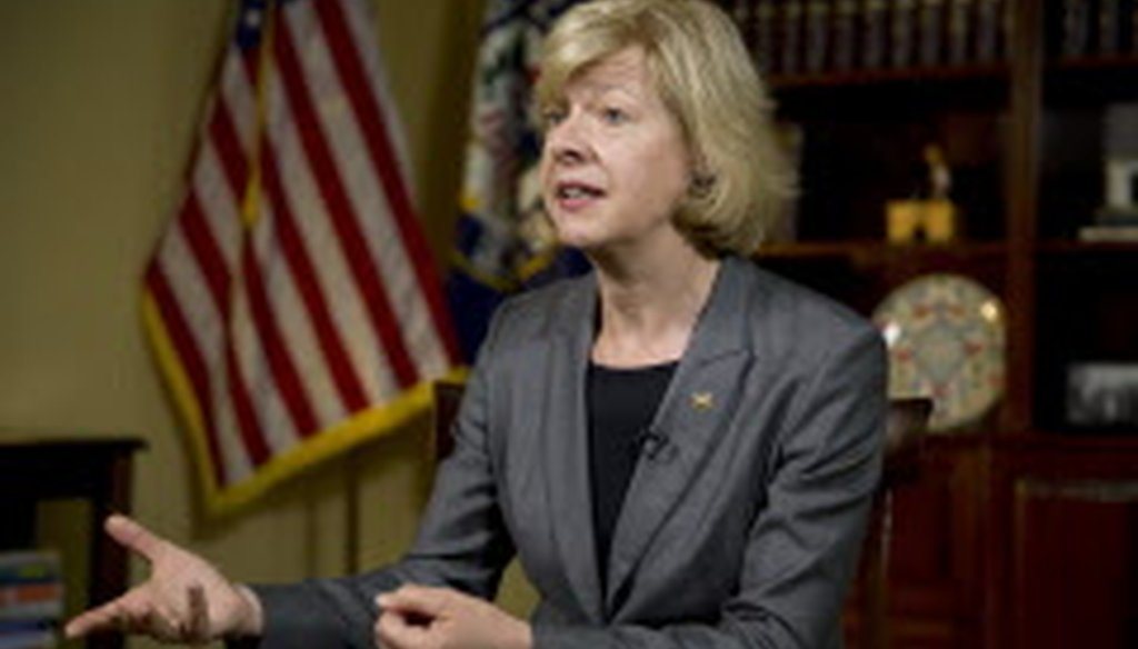 """Wisconsin Sen. Tammy Baldwin says """"President Trump continues to disrespect patriotic transgender Americans who want to serve their country."""""""