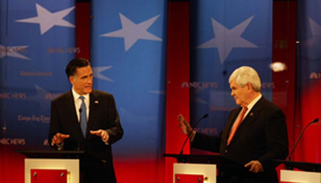 Mitt Romney and Newt Gingrich at the Republican debate in Tampa (Tampa Bay Times photo by Edmund D. Fountain)